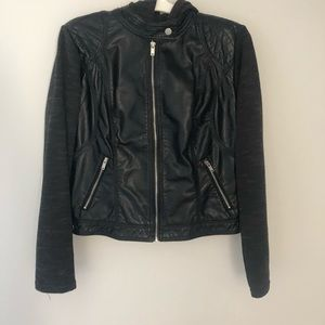 Faux Leather Motorcycle Jacket with Hood